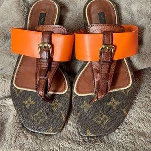 Louis Vuitton Orange Voyage Flat Thong Sandals